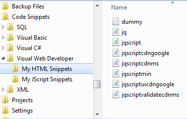 Under the HTML Snippets folder