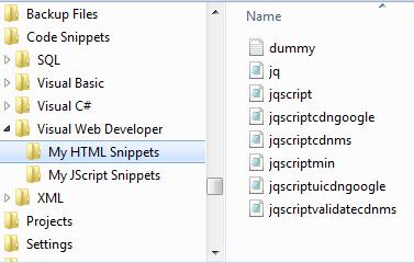Under the HTML Snippets folder