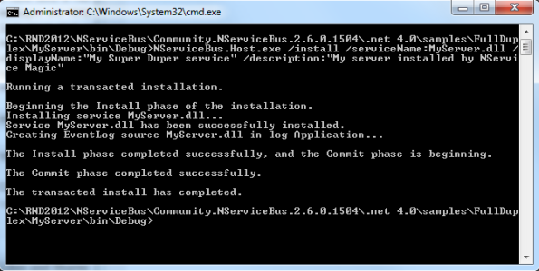 Installing NServiceBus component as a windows service