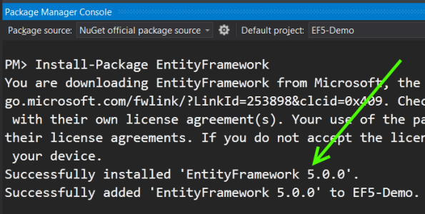 Entity Framework installed from Nuget package manager