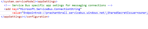 Adding service bus enpoint to the app.config file