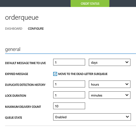 Order Queue Configuration through management portal