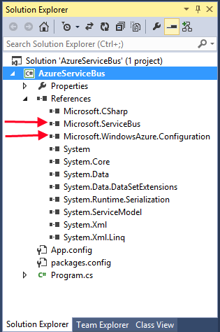 Windows Azure Service Bus references.