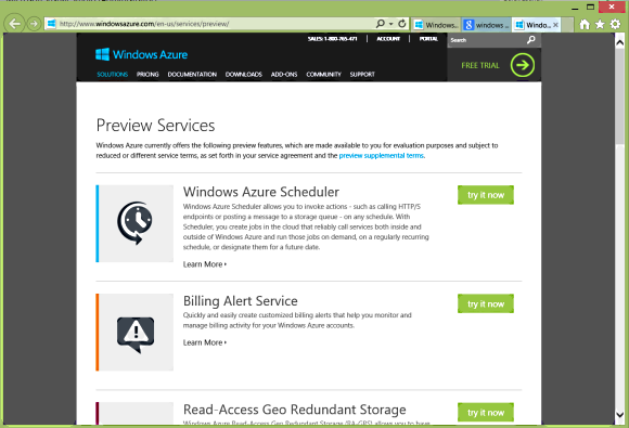 Azure preview services