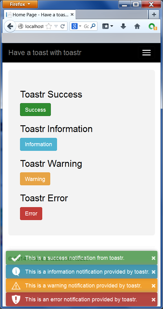 Have a toast with toastr - Mobile View