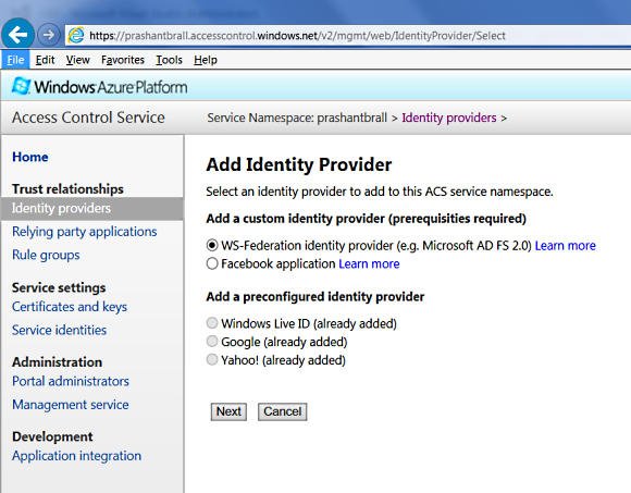Additional Identity Providers such as Facebook or any WS-Federation Identity Provider
