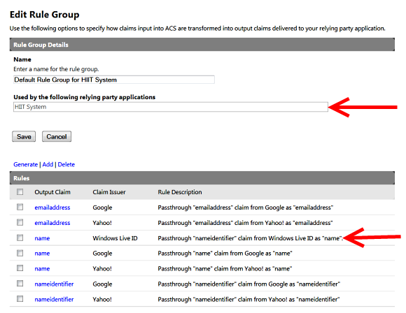 final rule group output with custom name mapping for windows live id.