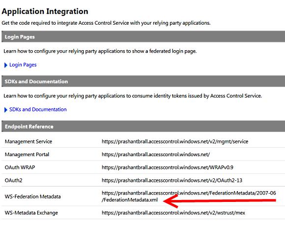 WS Federatiom metadata endpoint