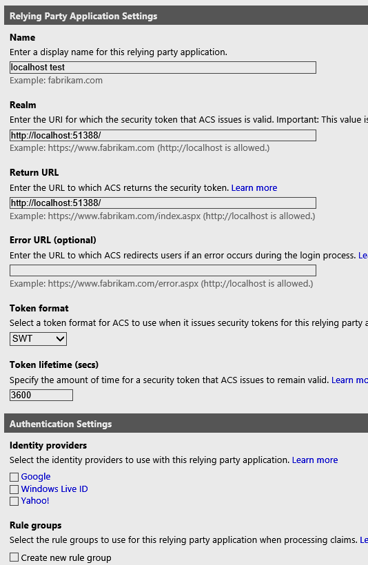 Configure our ASP.NET Web API as Relying Party.