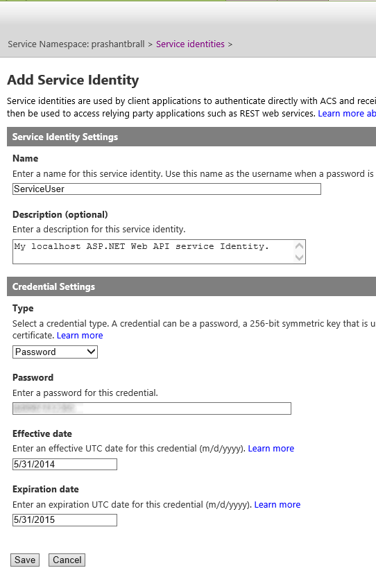 Service Identity for the ASP.NET Web API Service