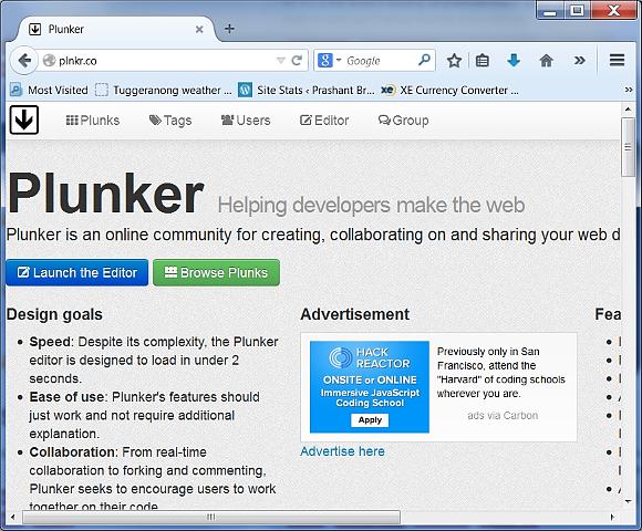Plunker website