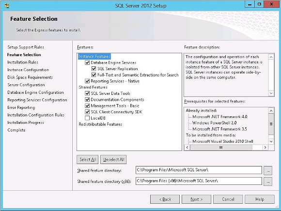 SQL Server all features