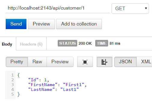 Customer Web Api with Get specific customer